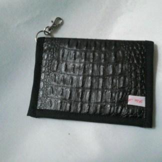 Porte-carte en simili avec attache mousqueton