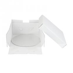 boite a gateau blanche avec support rond 35x35x15cm