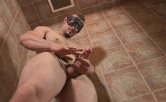 Maskurbate Tyson Solo Masturbation Scene Big Uncut Cock Shower JerkOff Muscular Dude French Canadian Stud feat