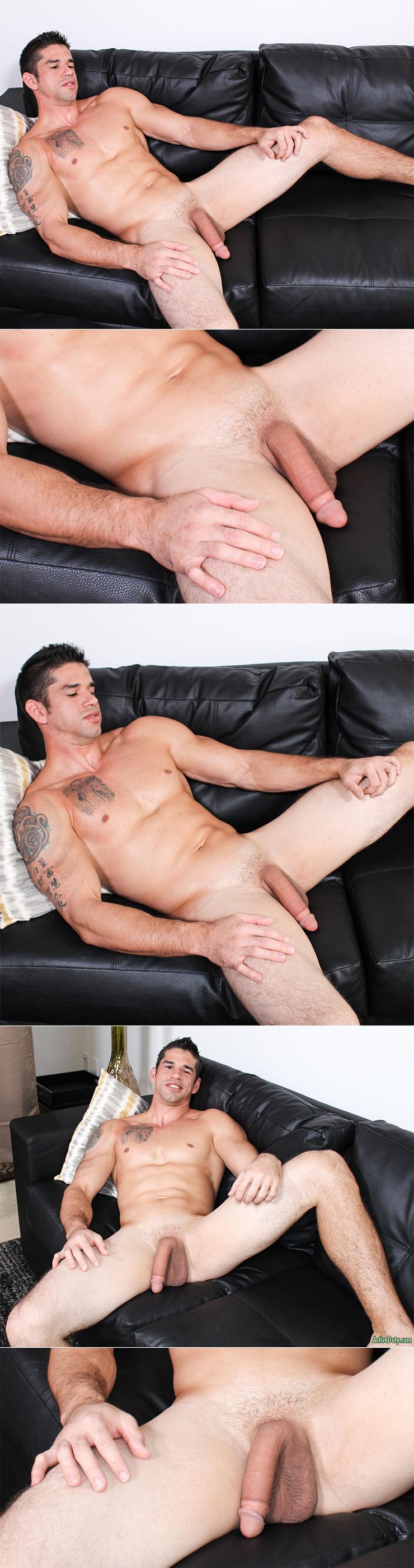 ActiveDuty Jason Richards Solo Masturbation Scene Big Cock Military Dude Tattoos Muscular Man 2