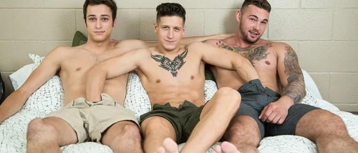 NextDoorStudios Gay Bareback Threesome With Dalton Riley Steve Rogers Trevor Jones Rimming Twink Muscle Stud Fat Dick Tattoos Male Feet Cum in Mouth feat