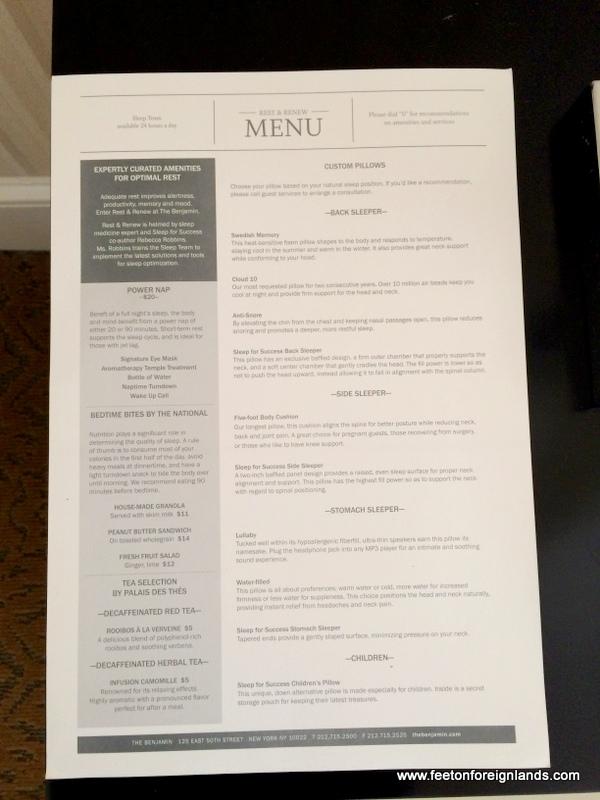 Benjamin Hotel, NYC pillow menu