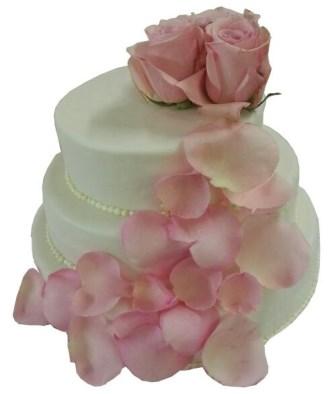 Rosa Torten  Hochzeitstorte mit RosenbltenbltterKaskade