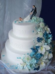 Blaue  trkisfarbene Tortenkunst