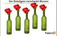 Der Bräutigam verschenkt Rosen