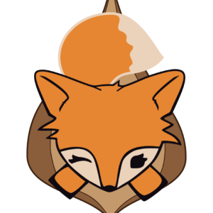A cartoon fox logo featuring a fox's head and big, bushy tail coming out of what appears to be a pair of labia. The fox is winking.