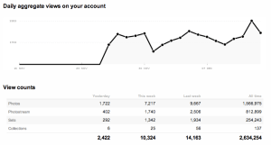 """A graph detailing daily aggregate views on """"your account"""", underneath which there is a stats breakdown"""
