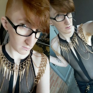 Two side-by side photos of Taylor. In each one, they're wearing a black mesh body suit with vertical stripes and an ornate gold metal chest piece that drapes across their chest and shoulders.