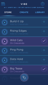 A screenshot of the MysteryVibe Crescendo app, showing some of the different vibration patterns that it has built-in.