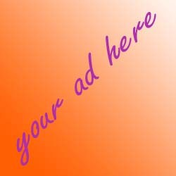 "Diagonal purple text on an orange background says ""your ad here"" in cursive"