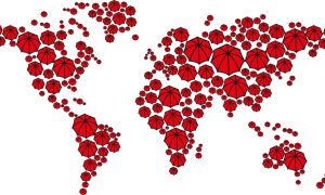 A map of the world except with pictures of red umbrellas forming the earth. Red umbrellas signify sex work.