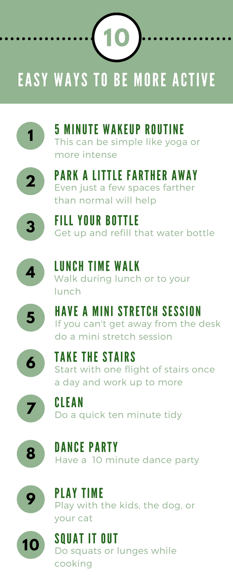 Moving more is good for you. Save this list for when you need more idea for how to be more active. #active #healthyliving #abetteryou #moveit #exercise