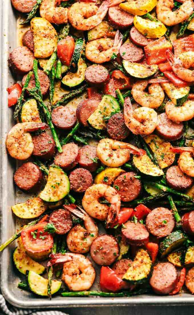 Cajun Shrimp and Sausage Vegetable Sheet Pan via The Recipe Critic