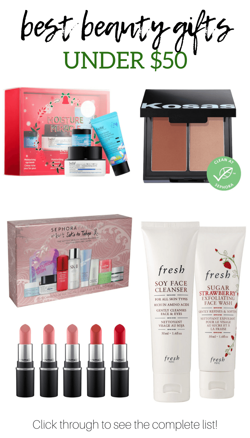 Good gifts don\'t have to break the bank. Check out this list of the best beauty gifts under $50 #giftguide #holidaygifts #giftsforher