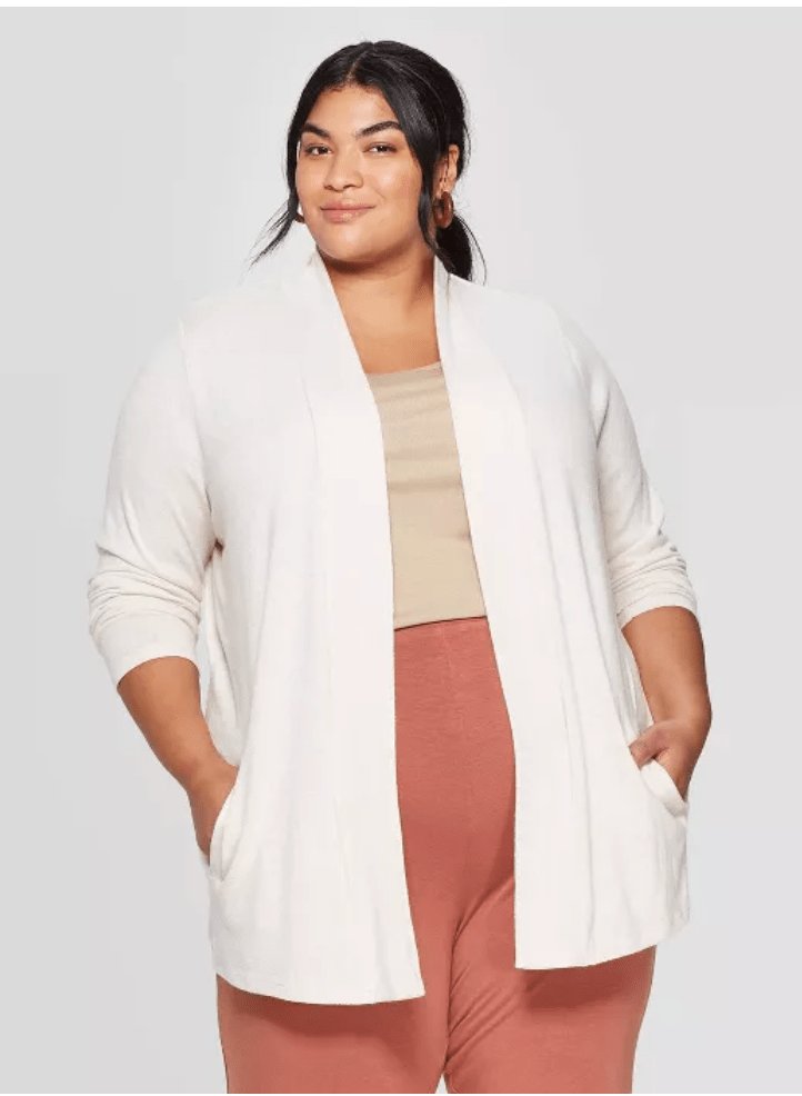 Women's Plus Size Long Sleeve Collared Open Layering Cardigan