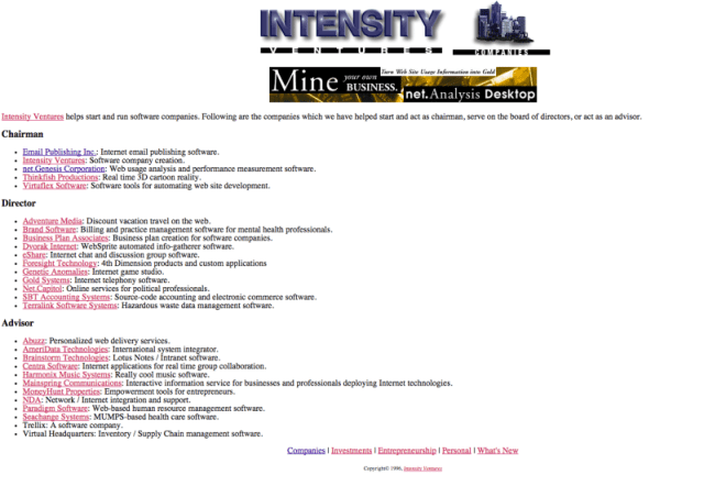 Intensity Ventures Company Page
