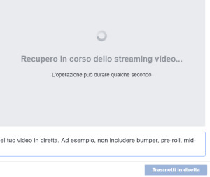 Configurazione dirette Facebook