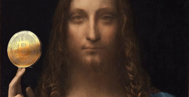 Il Salvator Mundi di Leonardo da Vinci con un Bitcoin