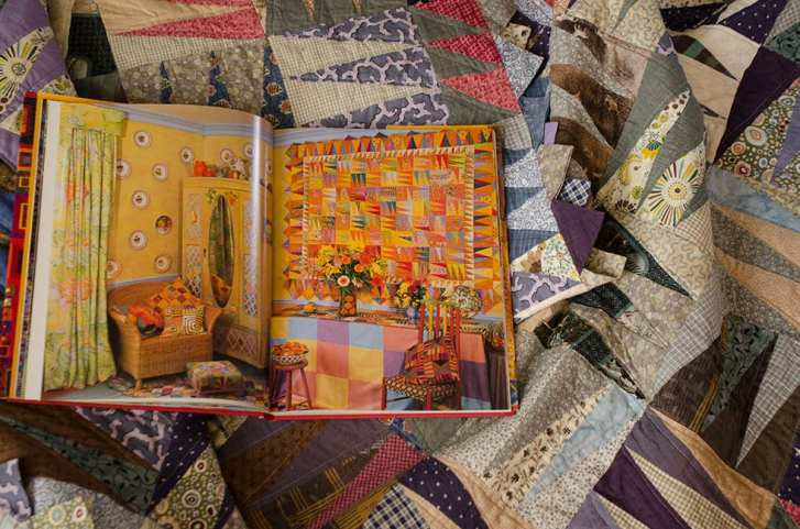 My blue winter morning quilt and the source inspiration in Glorious Patchwork by Kaffe Fassett