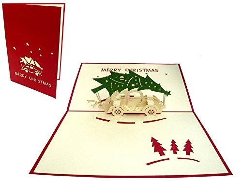 tarjeta navideña 30 árbol y coche