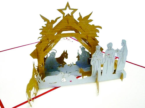 Tarjeta de navidad nacimiento de Jesús con los Reyes Magos