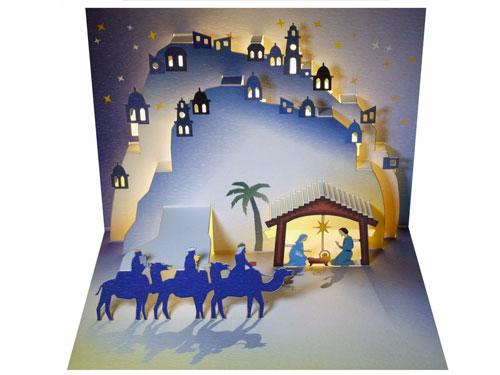 Postal de navidad Reyes Magos y niño Jesús