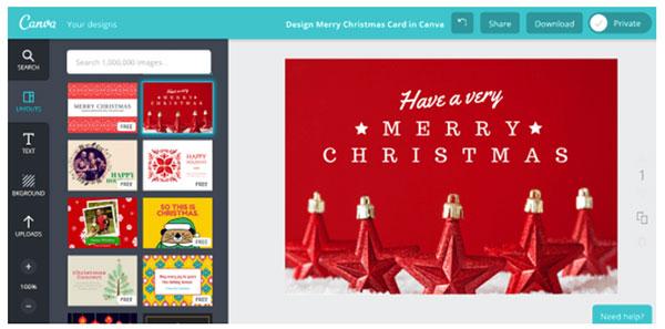 Personalización de felicitaciones de navidad con Canva