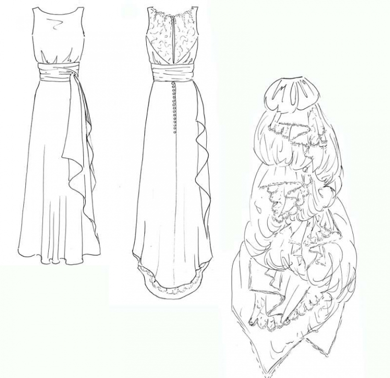 Art Deco silk and lace bias cut wedding dress for