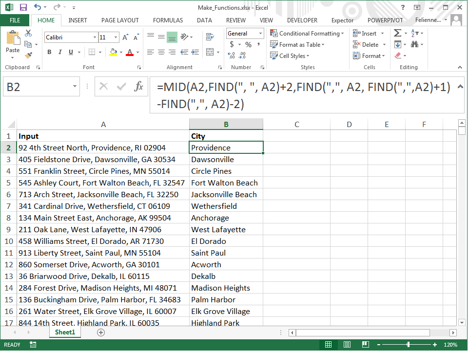 Define your own functions in Excel using names
