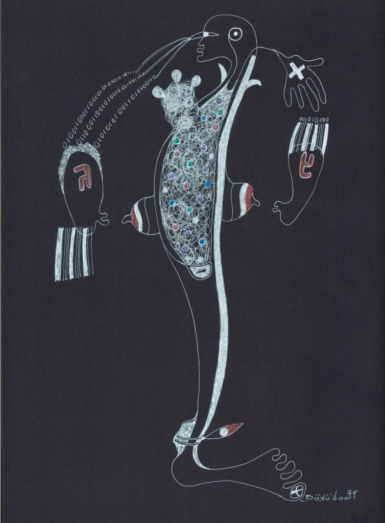 Mastacembelus versus odioka @ remember elephantine island 42 x 29,7 cm 2017 dessin sur papier canson noir Ernest Dükü