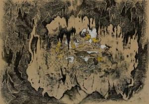 Edad de Oro VII, woodcut and monotype on paper, 42x60cm
