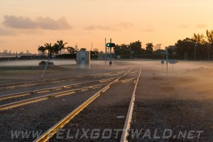 Area near Miami Airport during sunrise with some ground fog