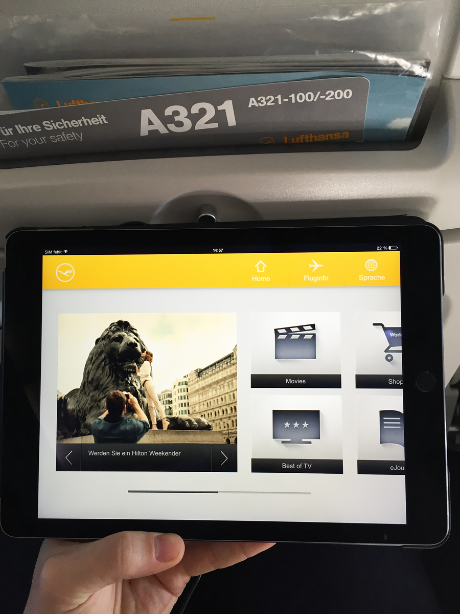 Lufthansa inflight entertainment system IFE application for ipad