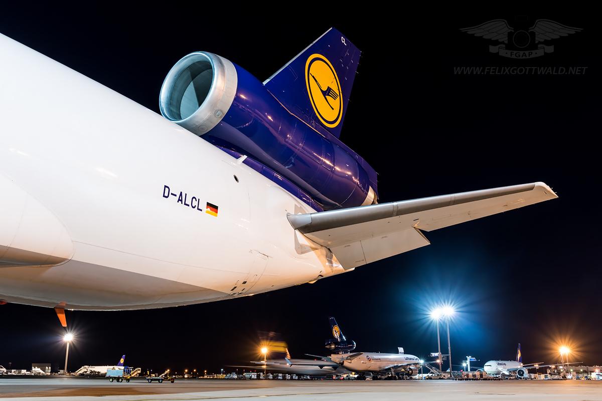 Lufthansa Cargo - McDonnell Douglas MD-11 freighter D-ALCL Frankfurt tail view