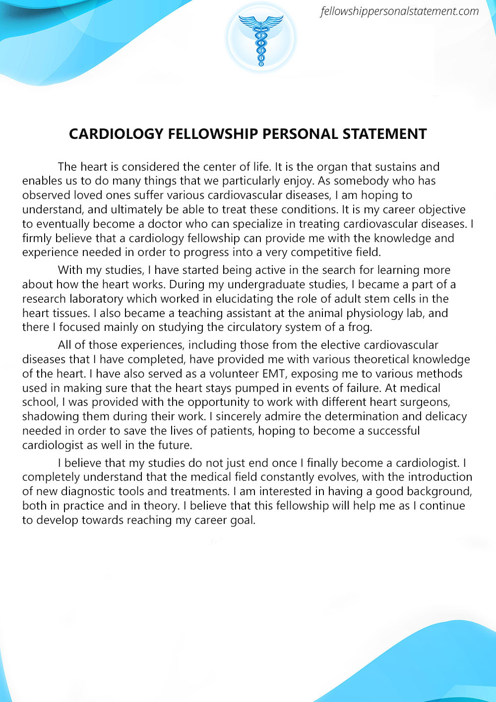 Exceptional Cardiology Fellowship Personal Statement Writing