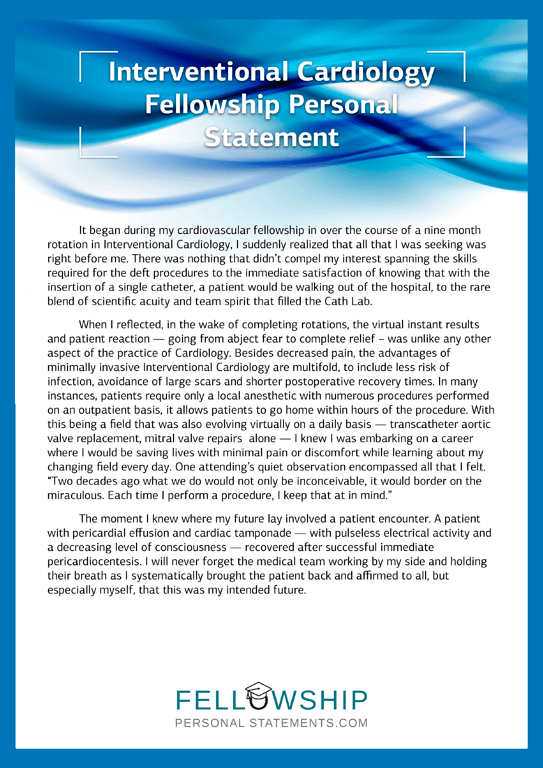 Interventional Cardiology Fellowship Personal Statement