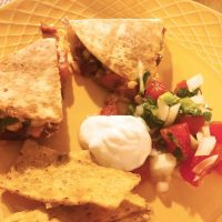 Quesadillas with Sweet Potatoes, Chorizo and Sweetcorn...plus Pico de Gallo Salsa