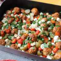 Chorizo Meatball and Feta Traybake