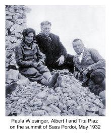Paula Wiesinger mit Albert I. und Tita Piaz