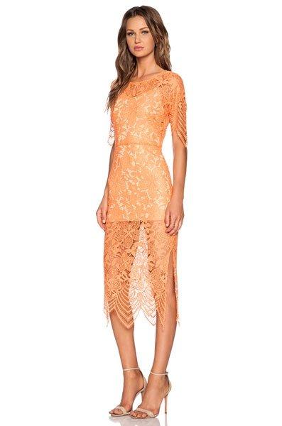 Kleider fr Hochzeitsgste Spitzenkleid in Orange