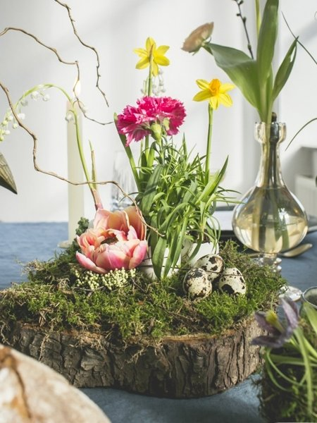 Blumendeko Frhling BaumstammEtagere fr den Tisch