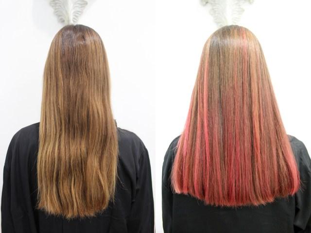 Esther-Palma-Comunicacion-Alma-Luzon-mechas-cabello-rosa-rainbow-hair-peluquería-Madrid-Antes-Despues