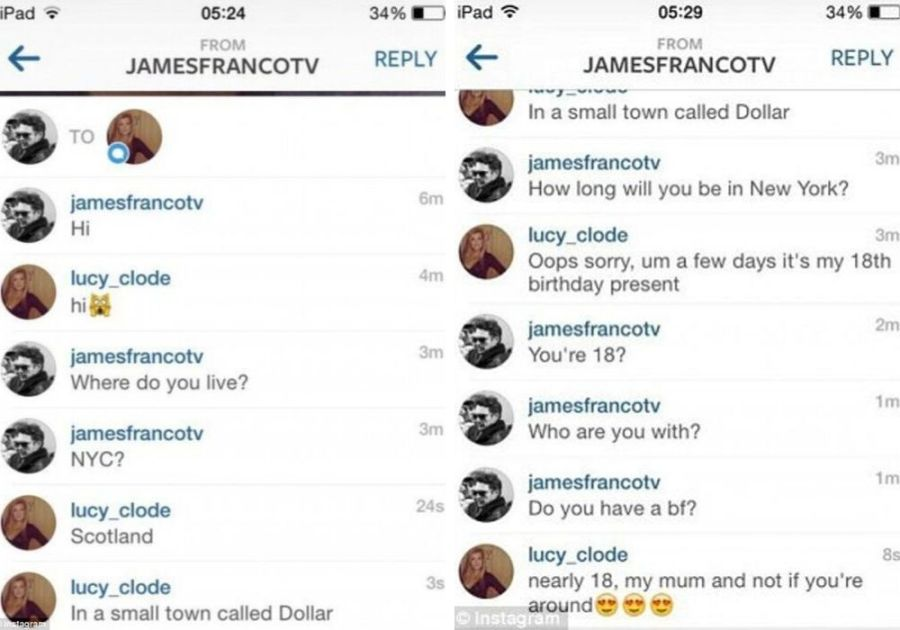 james franco messages underage girls