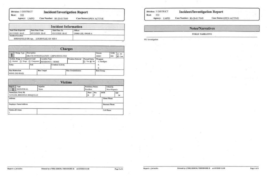 breonna taylor police report