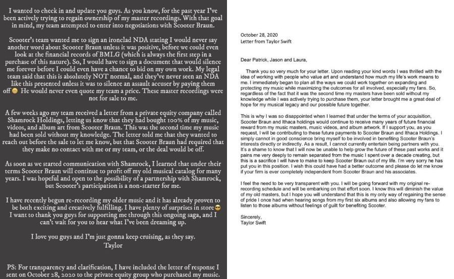 taylor swift scooter braun letter