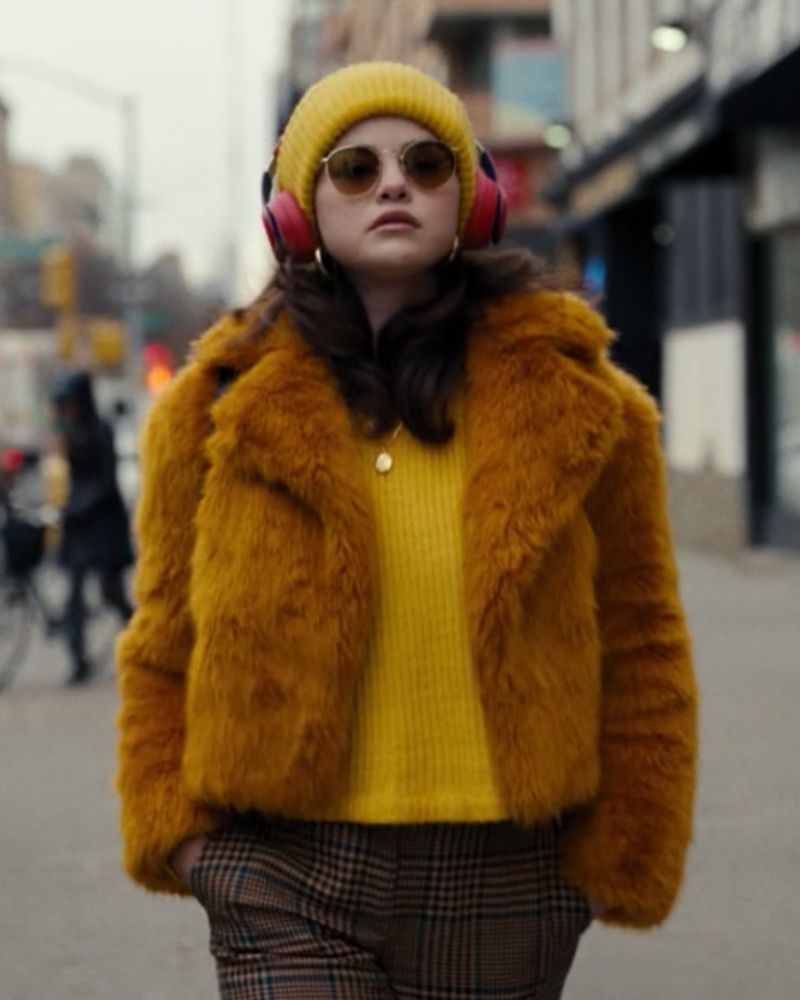 only murders mabel outfits fur coat yellow beanie