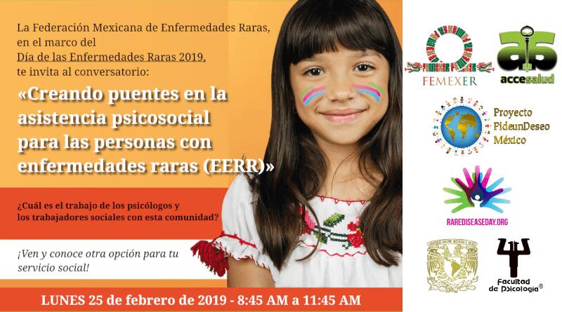 Cartel de invitación a DiMER 2019 con FEMEXER y FacPsi (UNAM) el lunes 25 feb 2019