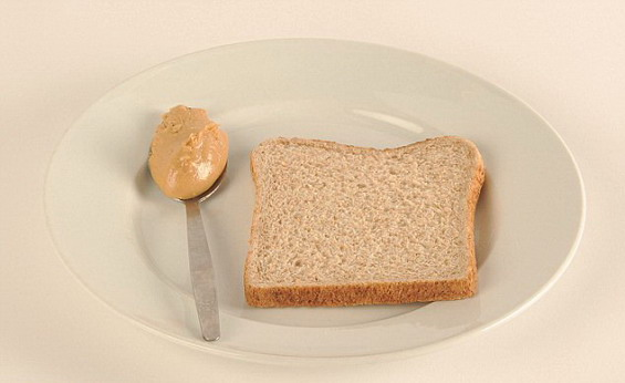 A serving (78 g) whole-grain bread and a tablespoon (5 g) peanut butter