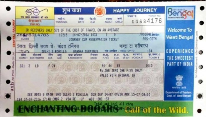 Image of the ticket. Credit: Latha PM