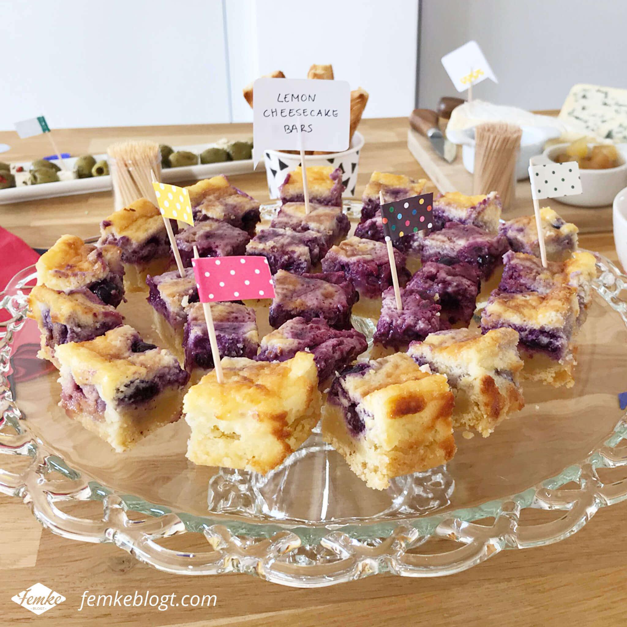 Onze housewarming | Cheesecake bars met zelfgemaakte prikkers